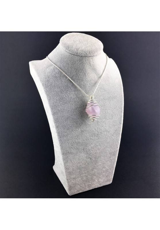 Purple LAVENDER JADE Pendant Hand Made on Silver Plated Spiral Necklace-3