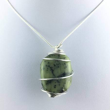 NEPHRITE JADE Green PENDANT Hand Made on SILVER Plated Spiral A+-2