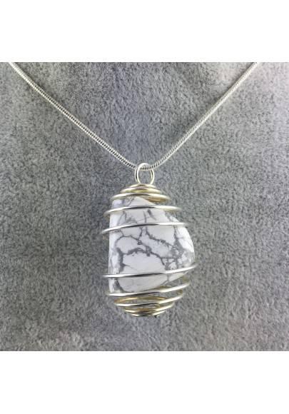 Ciondolo HOWLITE Montata Artigianalmente Spirale Placcata Argento Collana A+-1