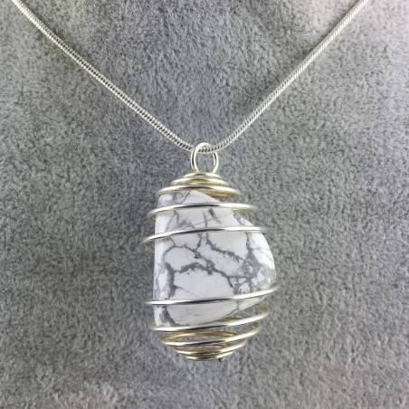 Pendant in HOWLITE Hand Made on Silver Plated Spiral Necklace A+-1