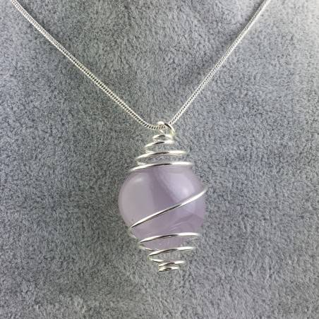 LAVENDER JADE Pendant - TAURUS Zodiac SILVER Plated Spiral Necklace-1