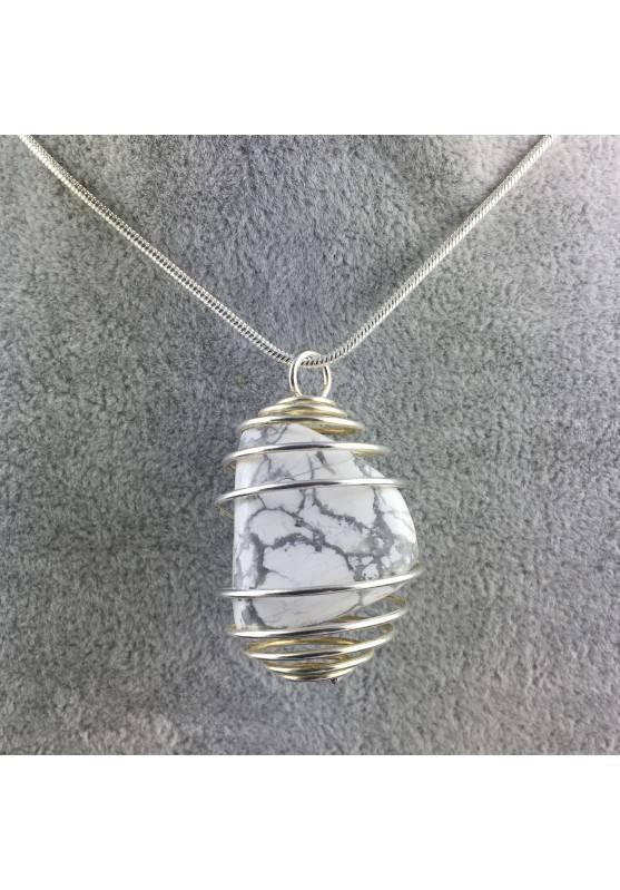 HOWLITE Pendant - SCORPIO Zodiac SILVER Plated Spiral Necklace-1
