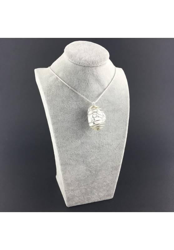 HOWLITE Pendant - SCORPIO Zodiac SILVER Plated Spiral Necklace-2
