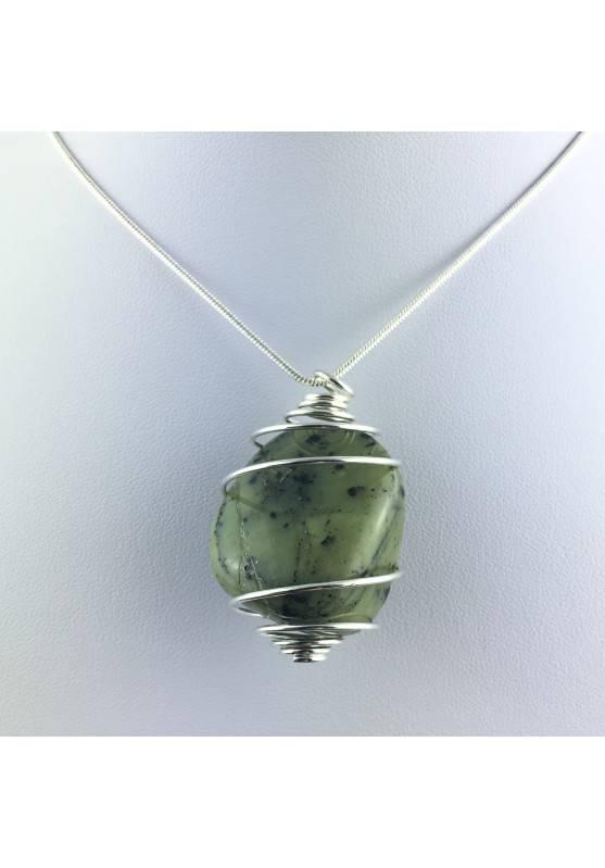 NEPHRITE JADE Green PENDANT - TAURUS LIBRA Zodiac SILVER Plated Spiral A+-1