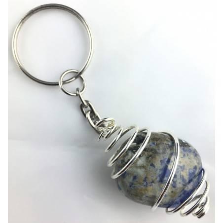 Brazilian SODALITE Tumbled Keychain Keyring -VIRGO SAGITTARIUS SILVER Plated Spiral-1