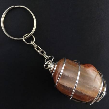 CARNELIAN AGATE Keychain Keyring - TAURUS Zodiac Silver Plated Spiral Necklace A+-1
