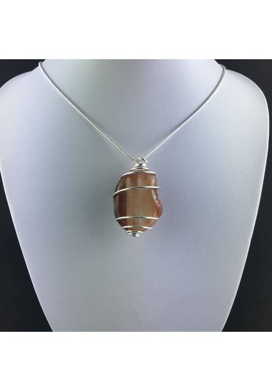 Pendant CARNELIAN AGATE Hand Made on Silver Plated Spiral Necklace-2
