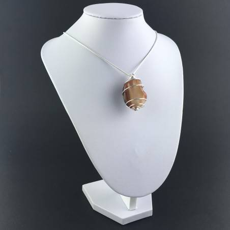 Pendant CARNELIAN AGATE Hand Made on Silver Plated Spiral Necklace-3