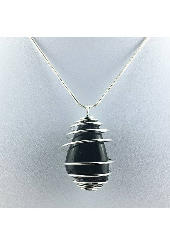 Pendant SHUNGHITE Hand Made on Silver Plated Spiral Necklace A+-2