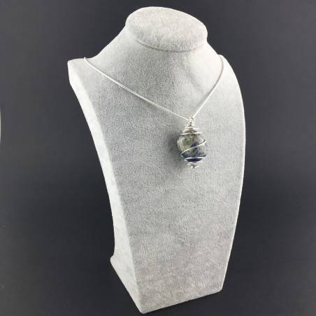 Pendant SODALITE BRAZIL Hand Made on Silver Plated Spiral A+-3