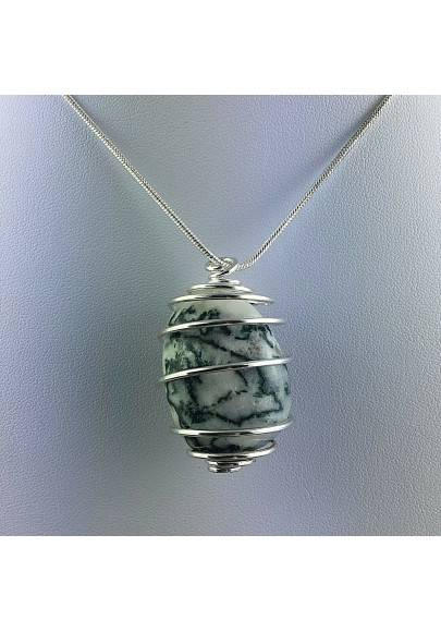 Pendant Dendritic Agate - VIRGO Zodiac Silver Plated Spiral Necklace-1