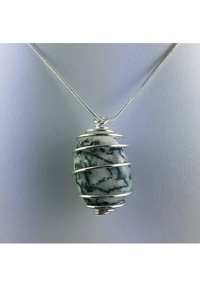 Pendant Dendritic Agate - VIRGO Zodiac Silver Plated Spiral Necklace-1