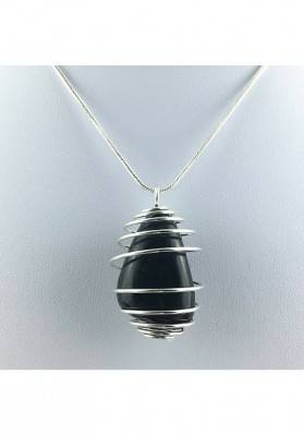 Pendant SHUNGHITE - Plated Spiral Handmade Silver Necklace Gift Idea A+-2
