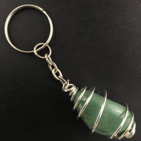 Green Aventurine Keychain Keyring Hand Made on SILVER Plated Spiral Necklace A+-1