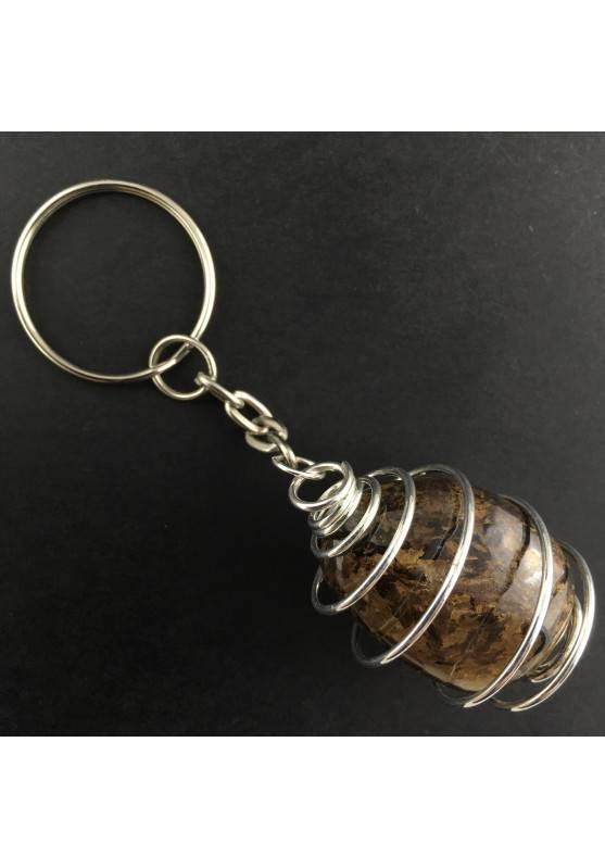 Portachiavi BRONZITE Montata Artigianalmente Spirale Placcata Argento Collana A+-1
