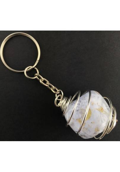 BLUE CHALCEDONY Keychain Keyring Hand Made on Silver Plated Spiral A+-1