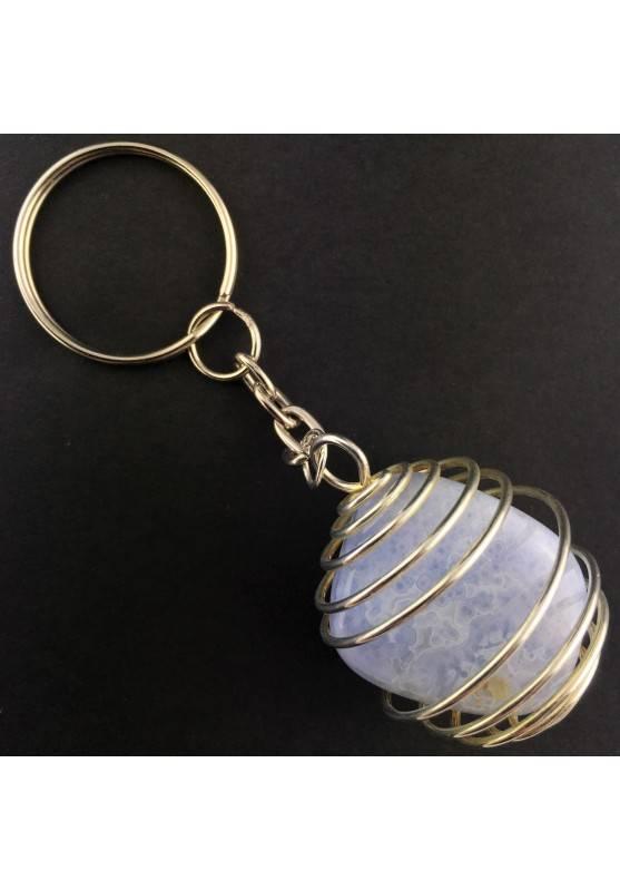 Portachiavi CALCEDONIO BLU Montata Artigianalmente Spirale Placcata Argento A+-2