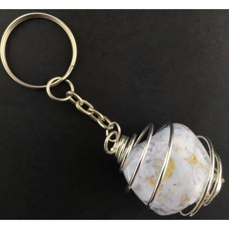 BLUE CHALCEDONY Keychain Keyring - GEMINI SAGITTARIUS Zodiac Silver Plated Spiral-1
