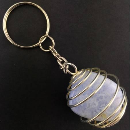 BLUE CHALCEDONY Keychain Keyring - GEMINI SAGITTARIUS Zodiac Silver Plated Spiral-2