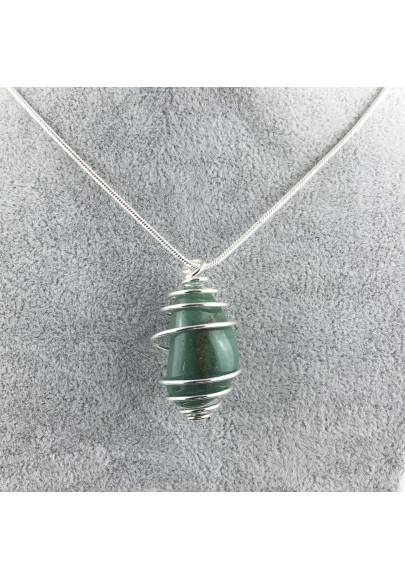 Green Aventurine Hand Made Pendant on Silver Plated Spiral Crystal Healing A+-1