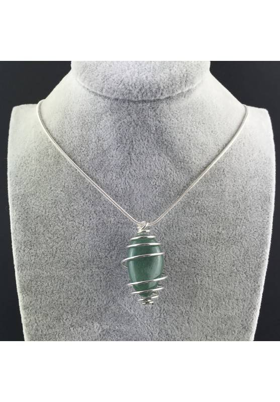 Green Aventurine Hand Made Pendant on Silver Plated Spiral Crystal Healing A+-2