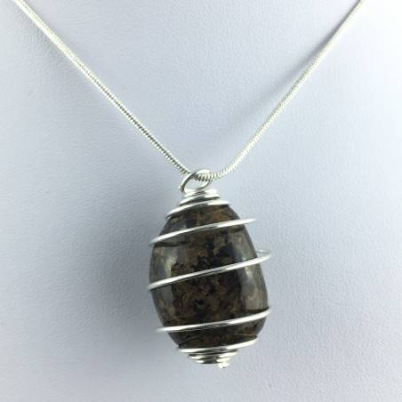 BRONZITE Hand Made Pendant on Silver Plated Spiral A+-1