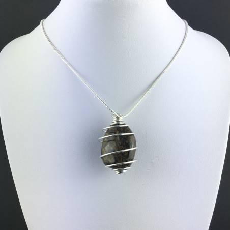 BRONZITE Hand Made Pendant on Silver Plated Spiral A+-2