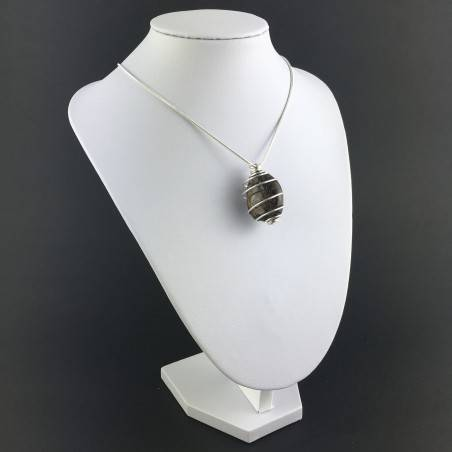 BRONZITE Hand Made Pendant on Silver Plated Spiral A+-3