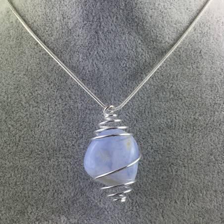 Ciondolo CALCEDONIO BLU Montata Artigianalmente Spirale Placcata Argento A+-1