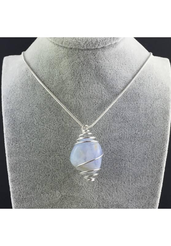 Ciondolo CALCEDONIO BLU Montata Artigianalmente Spirale Placcata Argento A+-2