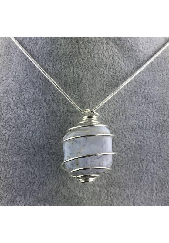 Ciondolo CALCEDONIO BLU Montata Artigianalmente Spirale Placcata Argento A+-4