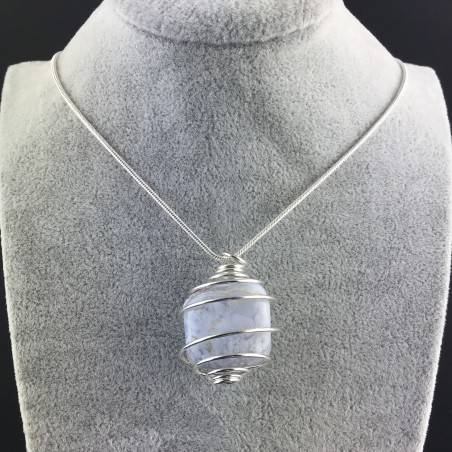 BLUE CHALCEDONY Hand Made Pendant on Silver Plated Spiral Crystal Healing A+-5