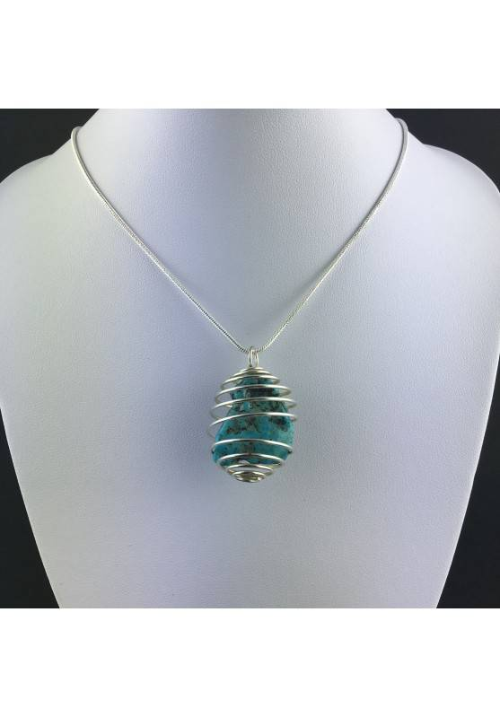 Precious Polished ARIZONA TURQUOISE Pendant Hand Made on Silver Plated Spiral A+-2