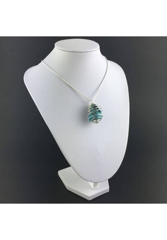Precious Polished ARIZONA TURQUOISE Pendant Hand Made on Silver Plated Spiral A+-3
