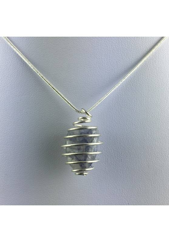 Ciondolo ZAFFIRO Montata Artigianalmente Spirale Placcata Argento Collana A+-1