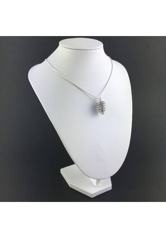 Ciondolo ZAFFIRO Montata Artigianalmente Spirale Placcata Argento Collana A+-3