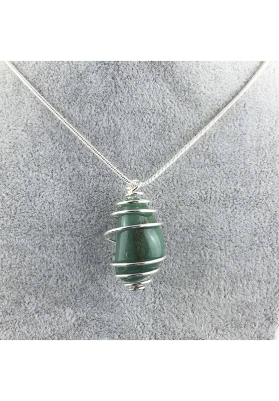 Pendant in Green Aventurine - TAURUS SAGITTARIUS CANCER SILVER Plated Spiral Necklace A+-1