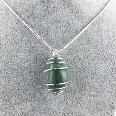 Pendant in Green Aventurine - TAURUS SAGITTARIUS CANCER SILVER Plated Spiral Necklace A+-1