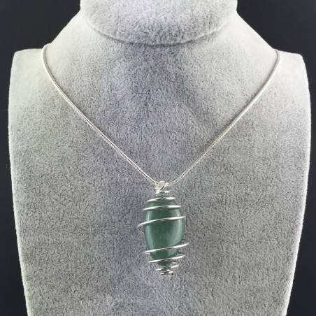 Pendant in Green Aventurine - TAURUS SAGITTARIUS CANCER SILVER Plated Spiral Necklace A+-2
