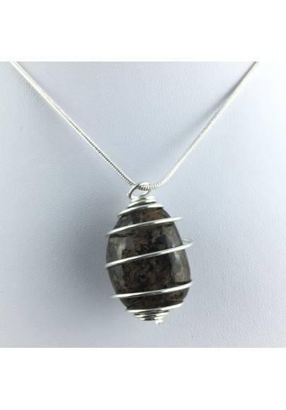 BRONZITE Pendant - Gift Idea Silicato Color Bruno Silver Plated Spiral A+-1