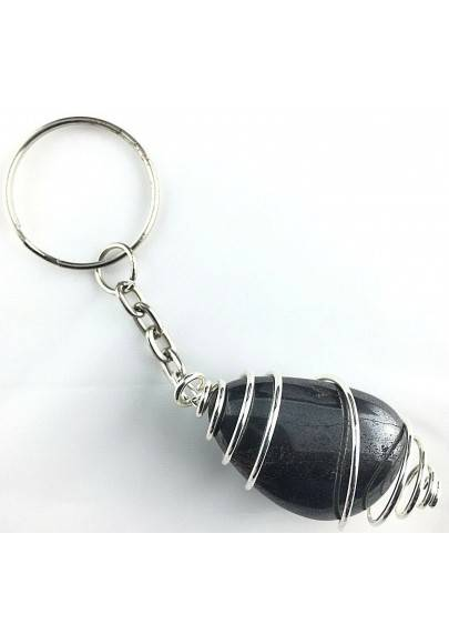 HEMATITE Keychain Keyring Hand Made on Silver Plated Spiral A+-1