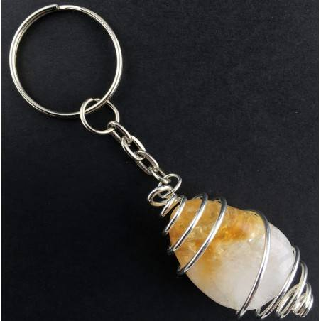 CITRINE Quartz Tumbled Keychain Keyring Hand Made on Silver Plated Spiral A+-1