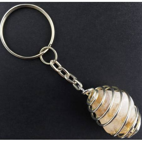 CITRINE Quartz Tumbled Keychain Keyring Hand Made on Silver Plated Spiral A+-2