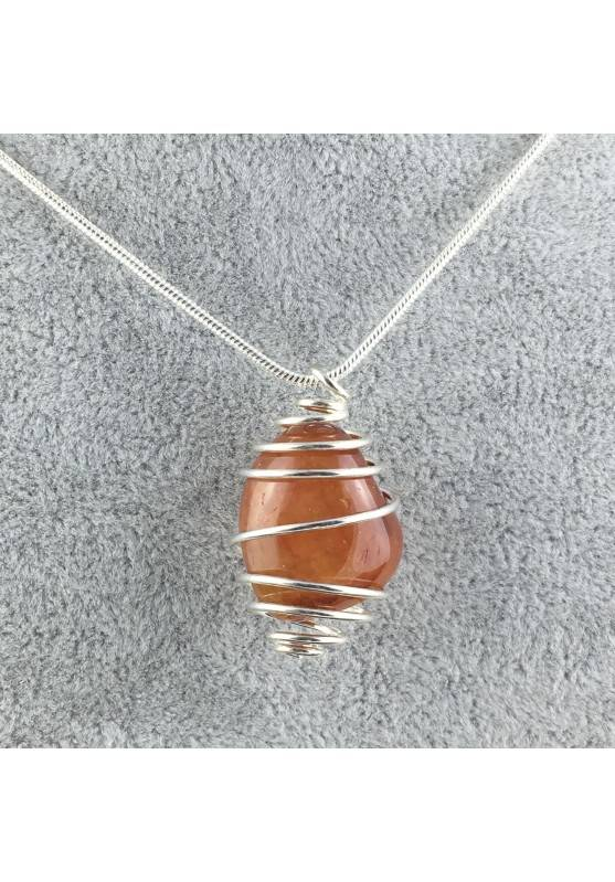CARNELIAN Hand Made Pendant on Silver Plated Spiral Necklace Chain Jewel A+-1