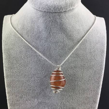 CARNELIAN Hand Made Pendant on Silver Plated Spiral Necklace Chain Jewel A+-2