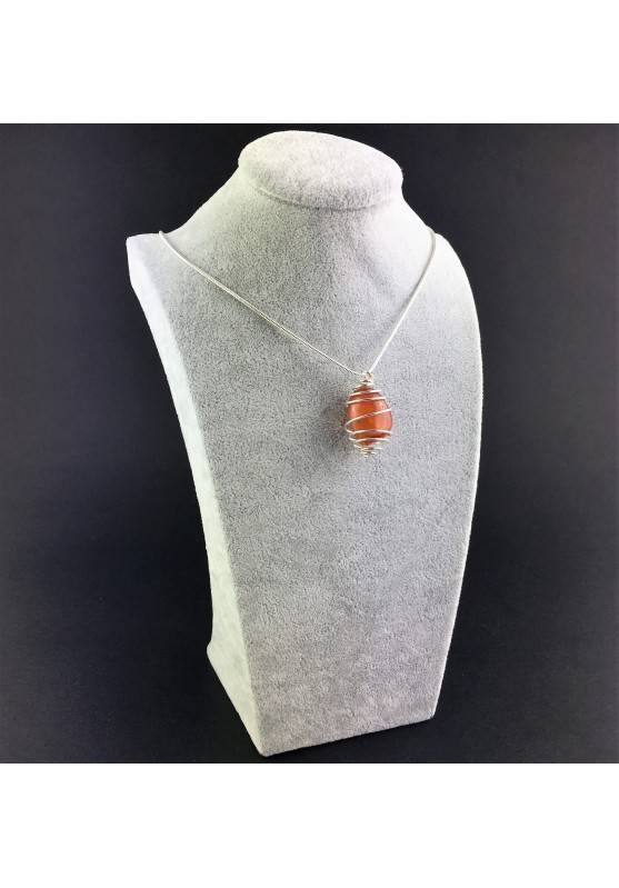 CARNELIAN Hand Made Pendant on Silver Plated Spiral Necklace Chain Jewel A+-3