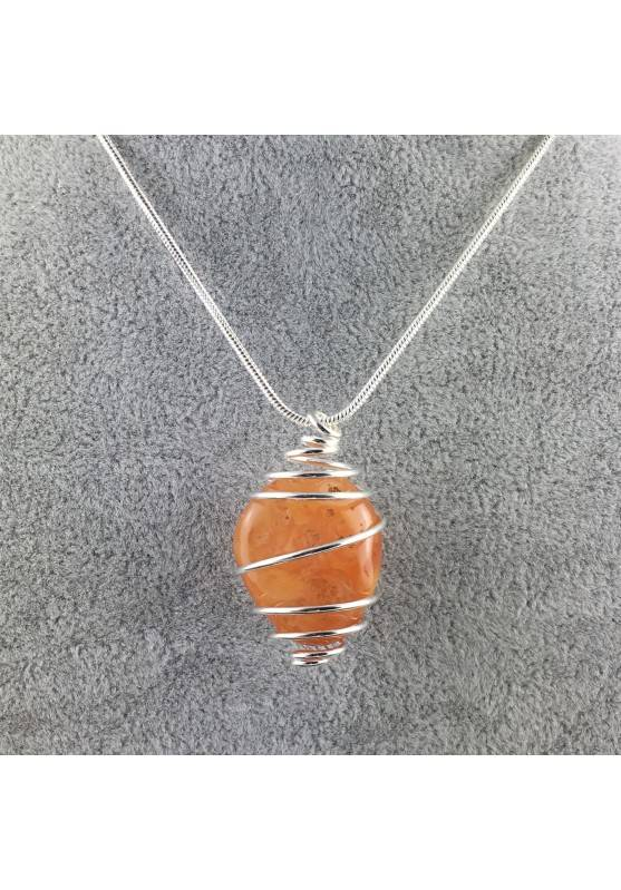 CARNELIAN Hand Made Pendant on Silver Plated Spiral Necklace Chain Jewel A+-4