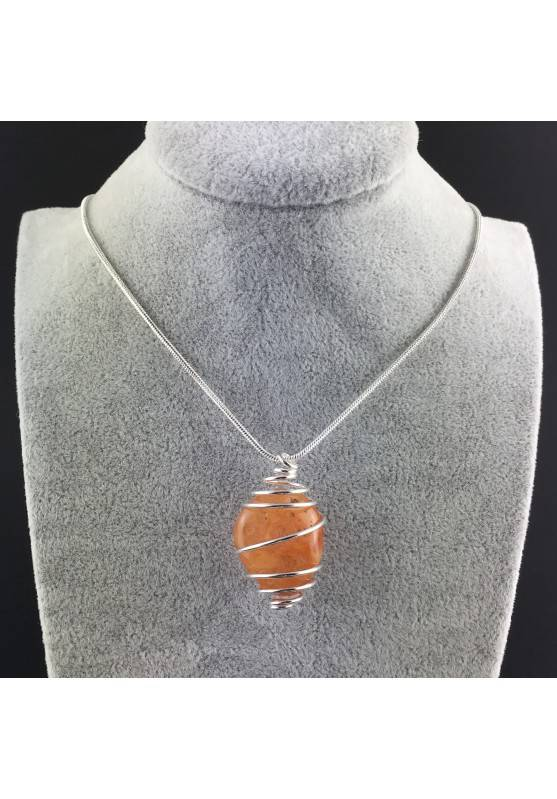 CARNELIAN Hand Made Pendant on Silver Plated Spiral Necklace Chain Jewel A+-5