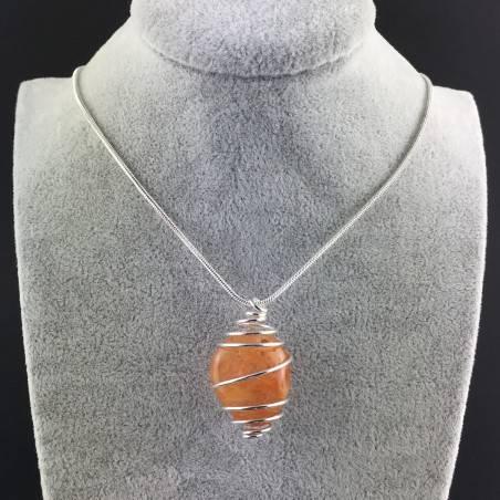 Ciondolo CORNIOLA Montata Artigianalmente Spirale Placcata Argento Collana A+-5