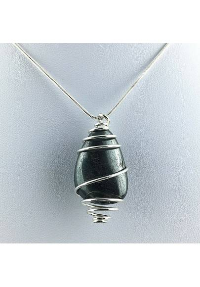 Pendant in HHEMATITE Hand Made on Silver Plated Spiral Necklace A+-1